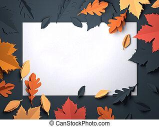 kunst, bladeren, -, herfst, papier, achtergrond, herfst