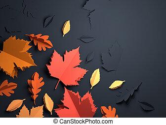 kunst, bladeren, -, herfst, papier, herfst