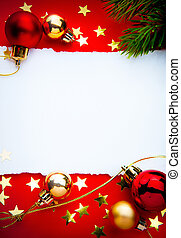 kunst, frame, papier, achtergrond, kerstmis, rood