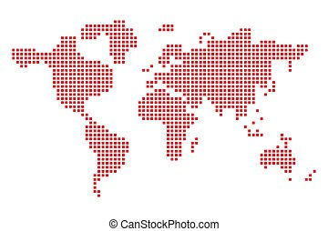 kunst, illustration., map., vector, ontwerp, wereld, pixel