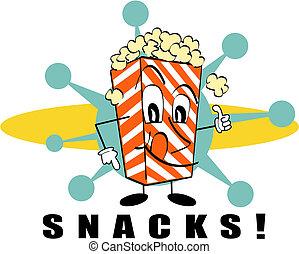kunst, klem, hapjes, meldingsbord, retro, popcorn
