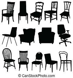 kunst kleur, illustratie, vector, black , stoel