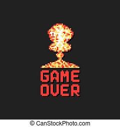 kunst, op, ontploffing, spel, pixel