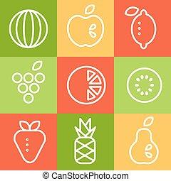 kunst, set., vector, vruchten, illustraties, lijn, style.