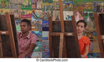 kunsten, kunst, leren, student, het glimlachen, opleiding, vrolijke