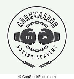 kunsten, logo, of, etiket, boxing, badge, krijgshaftig, style., ouderwetse