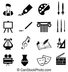 kunsten, set, pictogram