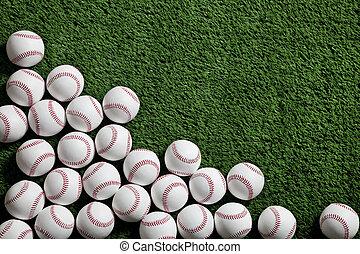 kunstgras, bekeken, groene, boven, honkbal
