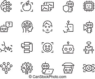 kunstmatig, lijn, intelligentie, iconen