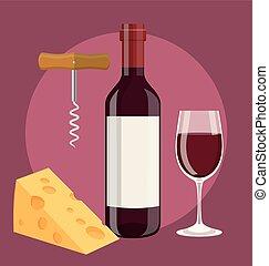 kurkentrekker, kaas, fles, wijn glas