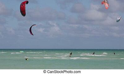 kust, surfing, vlieger, cuba
