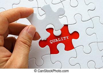 kwaliteit, witte , woord, raadsel