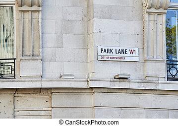 laan, park, meldingsbord