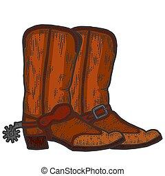 laarzen, kras, paar, plank, imitation., hand, cowboy, sketch., getrokken, kleur, image.