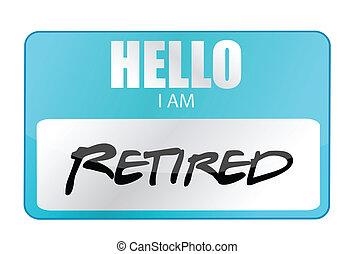 label, gepensioneerd, hallo