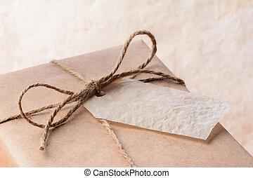 label, papier, verpakken, verpakte, bruine , cadeau