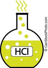 laboratorium, zuur, hydrochloric, glas