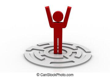 labyrint, mensen, pictogram