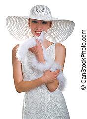 lachen, boa, meisje, jurkje, witte hoed