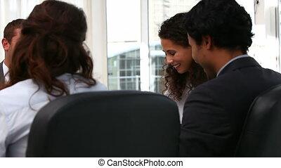 lachen, vergadering, handel team