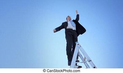 ladder, trots, winnaar, zakenman