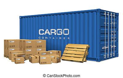 lading, dozen, karton, container