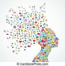lagen, hoofd, concept, silhouette, illustration., eps10, iconen, media, georganiseerd, vector, editing., vrouw, gemakkelijk, sociaal, bestand, gemaakt, gespetter