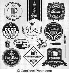 lager, set, bier, etiketten, ouderwetse