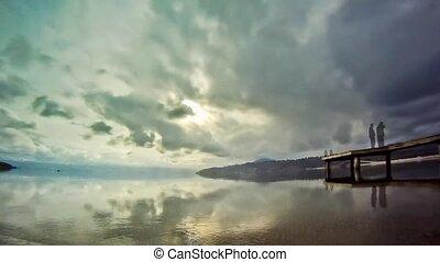 lakeshore, wrakkigheid, bewolking, video, tijd