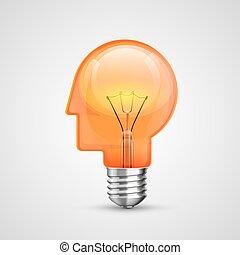 lamp, concept, hoofd, idee, creatief