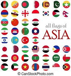 land, alles, vlaggen, azie