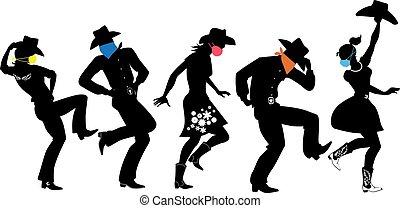 land, dans, maskers, westelijk