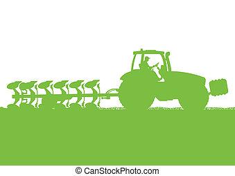 land, land, illustratie, akker, vector, boon, tractor, achtergrond, bebouwd, landbouw, ploegen, landscape
