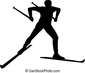 land, silhouette, kruis, skier