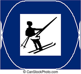 land, skien, kruis, meldingsbord