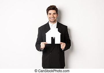landgoed, witte , thuis, maket, het glimlachen, mooi, black , staand, achtergrond, beeld, agent, tegen, het tonen, kostuum, echte, fototoestel