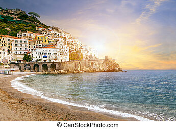 landscape, belangrijk, amalfi, italië, zee, bestemming, zuiden, europa, kust, middellandse zee, het reizen, mooi