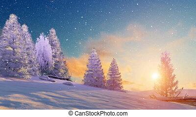 landscape, besneeuwd, ondergaande zon , 4k, winter