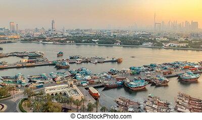landscape, dubai, ondergaande zon , timelapse, bootjes, scheeps , porto, achtergrond, kreek, gebouwen, moderne, gedurende