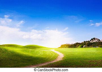 landscape, lente, wolken, gras, straat, groene