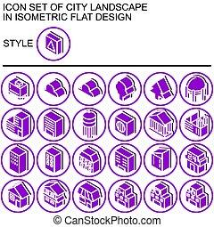 landscape, plat, set, pictogram, ontwerp, stad, 170