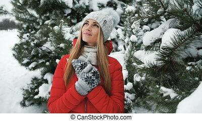 landscape, staand, ijzig, bomen, winter, blonde, vrouw, spar