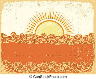 landschap., grunge, abstract, illustratie, zee, vector, waves.