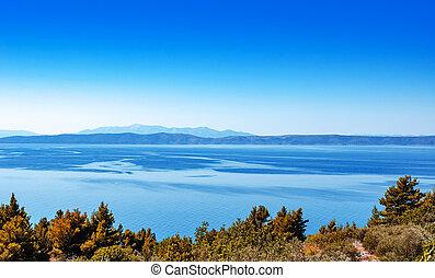 landschap., kust, nevelbeeld, kust, horizon., zee, eilanden