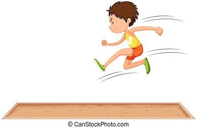 lang, man, sprong, atleet