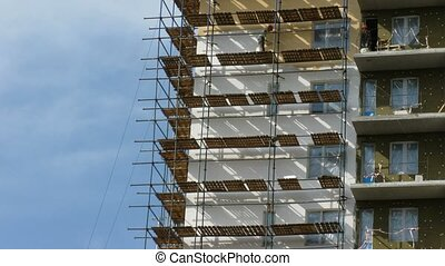 lapse., house., many-storeyed, verf , tijd, aannemer