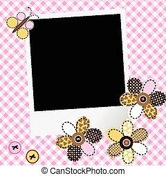 lapwerk, fotokader, scarpbook, ontwerp, baby meisje, bloemen