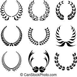 laurier, symbool, krans, set