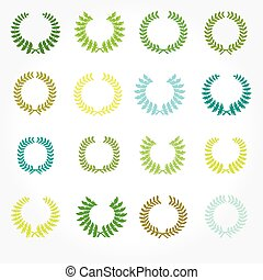 laurier, wreaths., set, kroon