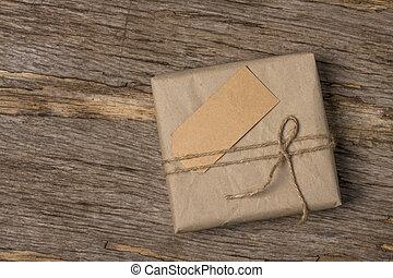 lay., houten, achtergrond., plat, gebonden, doosje, papier, twijn, bruine , cadeau